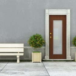 Facade of an old house with bench and plant - rendering